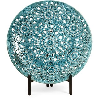 Lopez Turquoise Floral Pierced Charger with Iron Stand