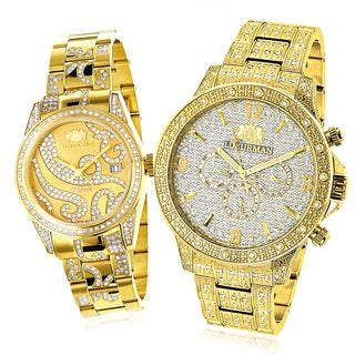 Luxurman Yellow Goldplated Diamond His and Hers Watch Set