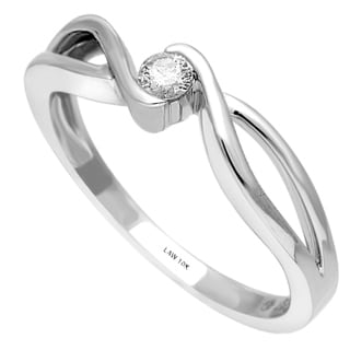 10k White Gold 1/10ct TDW Diamond Infinity Promise Ring (H-I, SI1-SI2)
