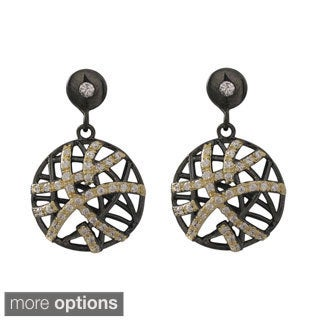 Luxiro Sterling Silver Cubic Zirconia Goldtone/ Black Filigree Dangle Earrings