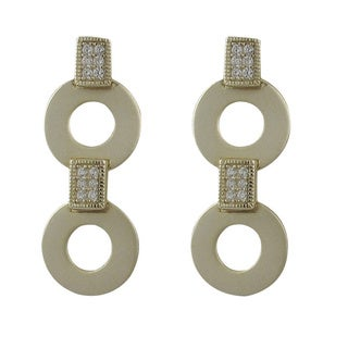 Luxiro Sterling Silver Matte Gold Finish Pave Cubic Zirconia Coin Linked Drop Earrings