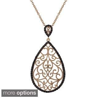 Luxiro Sterling Silver Cubic Zirconia Designer-style Filigree Teardrop Pendant Necklace