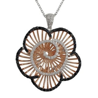 Luxiro Sterling SilverRose Gold and Black Finish Cubic Zirconia Filigree Flower Pendant Necklace