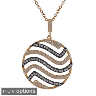 Luxiro Sterling Silver Cubic Zirconia Rose Gold and Black Wave Cutout Circle Pendant Necklace