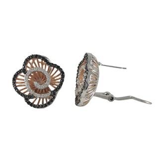 Luxiro Sterling Silver Cubic Zirconia Filigree Flower Swirl Omega Earrings