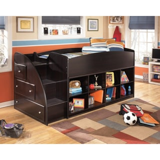 Embrace Merlot Twin Loft Bed with Bookcase