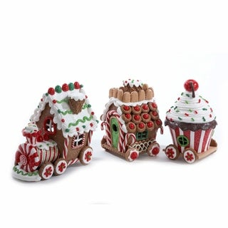Kurt Adler 4.3-inch Claydough 3D LED 3-piece Gingerbread Train Set