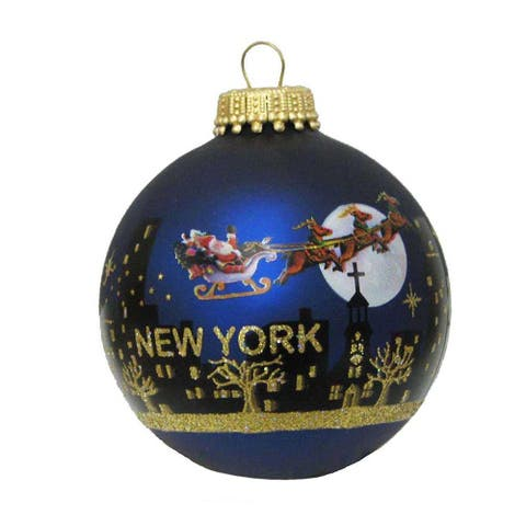 Kurt Adler 60MM NY Santa Skyline Hand Painted Glass Ball Ornament
