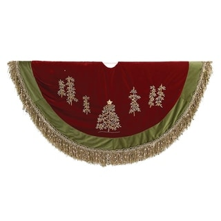 Kurt Adler 50-inch Burgundy Ribbon Trees Treeskirt with Green Tassel Border