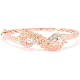 18k Rose Vermeil over Sterling Silver Morganite and Cubic Zirconia Angel Wings Hinged Bangle (7.25 inches)