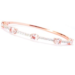 18k Rose Gold over Sterling Silver Morganite and Natural White Zircon Bangle Bracelet