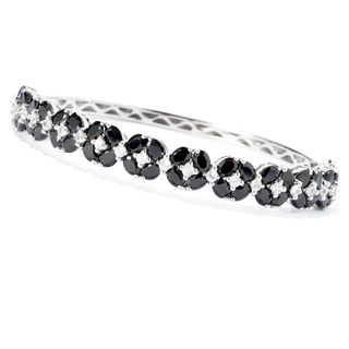 Sterling Silver Black Spinel and Cubic Zirconia Hinged Bracelet