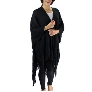 Le Nom Women's Acrylic Solid Winter Poncho/Shawl with Fringe (Option: Black)