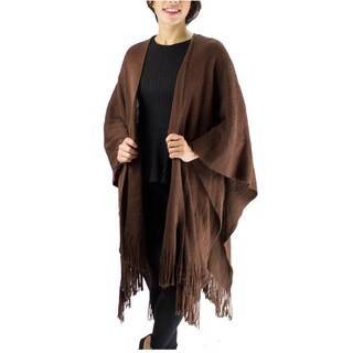 Le Nom Women's Acrylic Solid Winter Poncho/Shawl with Fringe (Option: Brown)