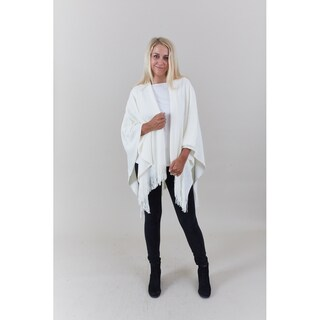 Le Nom Women's Acrylic Solid Winter Poncho/Shawl with Fringe (Option: Ivory)