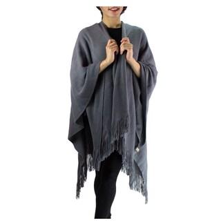 Le Nom Women's Acrylic Solid Winter Poncho/Shawl with Fringe