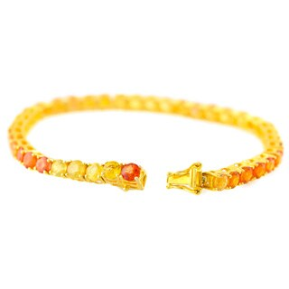 18k Yellow Gold over Sterling Silver Sapphire Tennis Bracelet