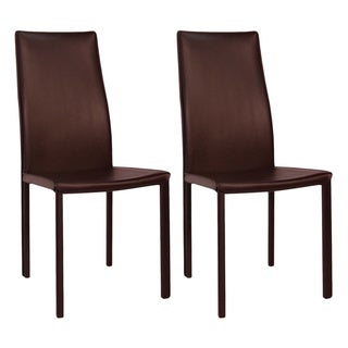 Aurelle Home Classic Italian Leather Dining Chairs (Set of 2)