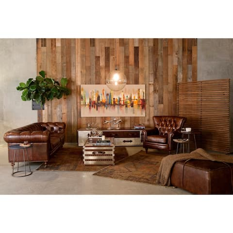 Aurelle Home Brown Distressed Rustic Leather Ottoman
