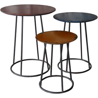 Aurelle Home Iron Round-top Minimalist 3-piece Nesting End Table Set