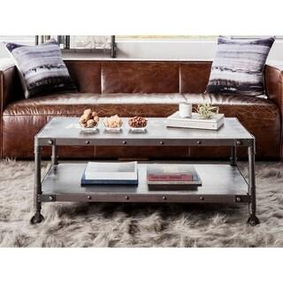Aurelle Home Industrial Rustic Black Stamped Coffee Table