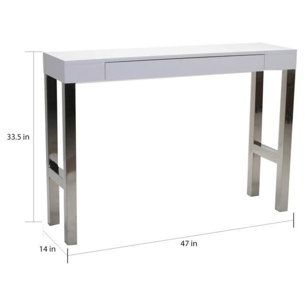 Aurelle Home White Lacquer Modern Console Table 47 X 14 33 5