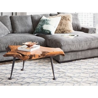 Aurelle Home Teak Coffee Table with Cast Iron Legs