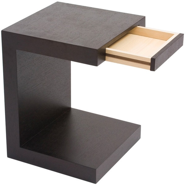 Superior Aurelle Home Carson Oak Espresso C Shaped End Table