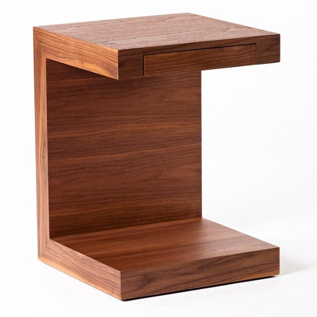 Aurelle Home Carson Oak Espresso C-Shaped End table (Brow...