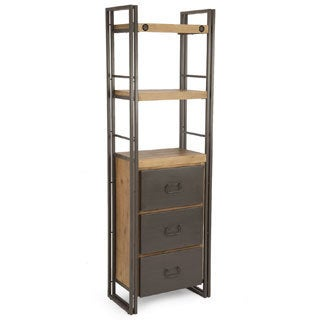 Aurelle Home Miller Rustic and Industrial Bookshelf with Drawers