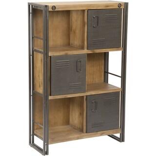 Aurelle Home Rustic Antique Industrial Bookcase with Doors