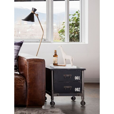 Aurelle Home 2-drawer Black Rustic Industrial Accent Table