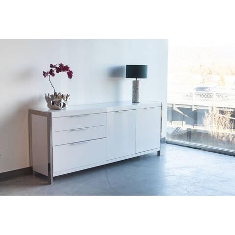 Aurelle Home Pure White Modern Storage Sideboard