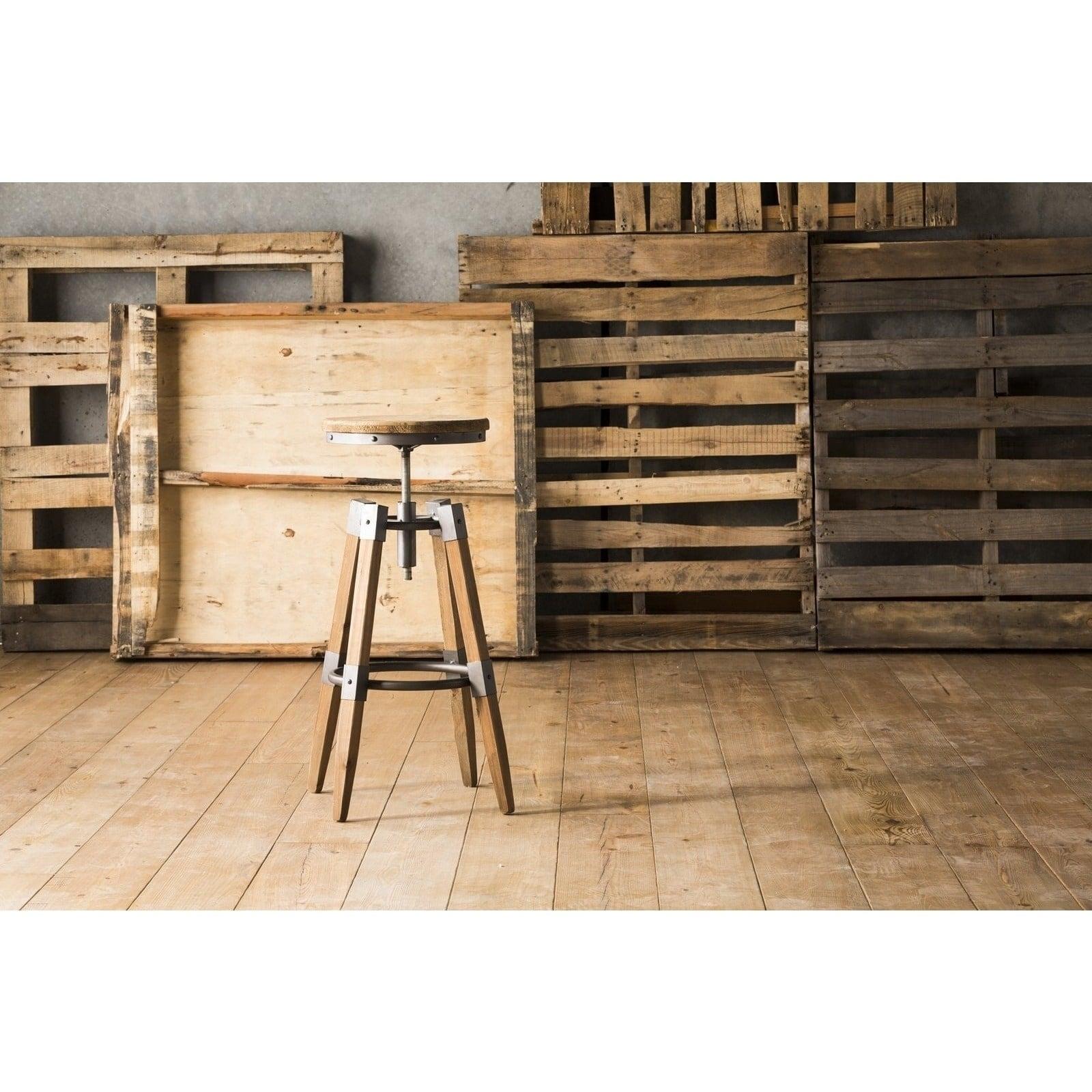 Pleasant Aurelle Home Industrial Wood And Iron Adjustable Bar Stool Inzonedesignstudio Interior Chair Design Inzonedesignstudiocom