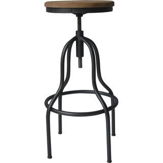 Aurelle Home Rustic Antique Wood and Iron Industrial Style Bar Stool