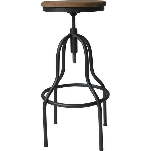 Percy Rustic Antique Wood And Iron Industrial Style Bar Stool