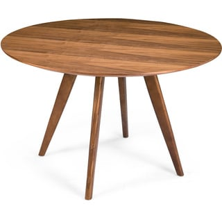 Aurelle Home Sole Walnut Round Dining Table