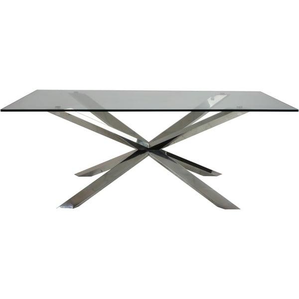 Aurelle Home Amanda Glass Top Rectangle Coffee Table