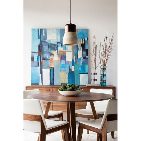 """Aurelle Home Gideon Solid Walnut Modern Round Dining Table - 29.50"""" x 47"""" x 47"""" - 29.50"""" x 47"""" x 47"""""""