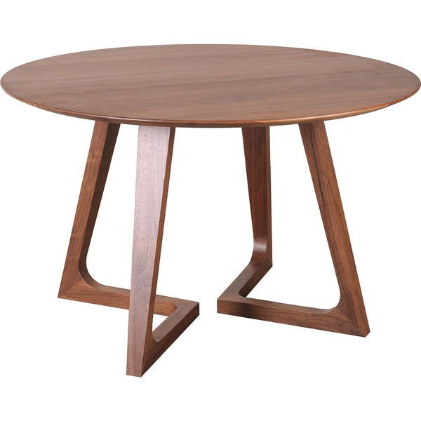 Aurelle Home Amanda Glass Top Rectangle Coffee Table: Aurelle Home Solid Walnut Wood Round Dining Table