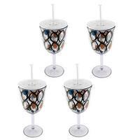 Circular Pattern Acrylic Wine Glass (Set of 4)