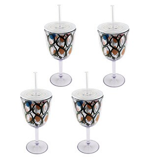 Circular Pattern Acrylic Wine Glass (Set of 4)