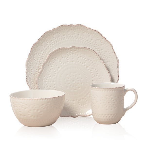 Pfaltzgaff Everyday Chateau Cream 16-piece Dinnerware Set - Free Shipping Today - Overstock.com ...