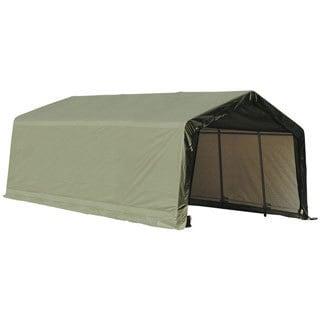 ShelterLogic Outdoor Garage Automotive Boat Car Peak Style Storage Green Shed (15 x 40 x 16)