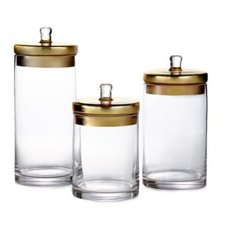 Glass Canisters with Gold or Silver Lids (Set of 3)