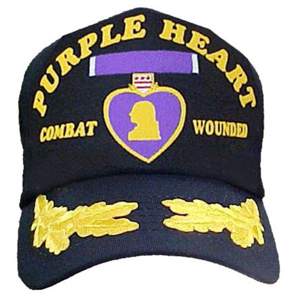 Combat Wounded with Purple Heart Scrambled Egg Baseball Cap