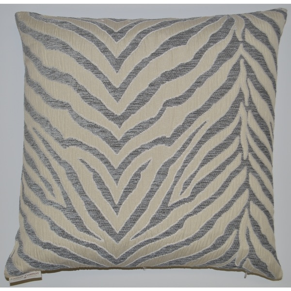 Silver Pumba Feather Filled Throw Pillow