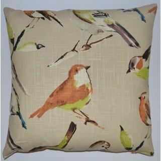 Birdwatcher Feather Filled 20-inch Decorative Throw Pillow
