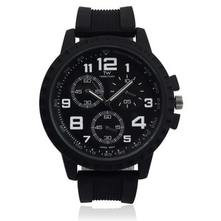 Territory Men's Silicone Rhinestone Time Zones Watch
