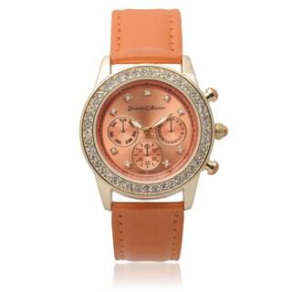 Journee Collection Women's Rhinestone Accent Round Watch (Option: Orange)